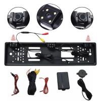 Set senzori de parcare cu camera marsarier pe suport numar kit 2 in 1